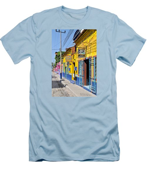 Men's T-Shirt (Slim Fit) featuring the photograph Tourist Shops - Mexico by David Perry Lawrence