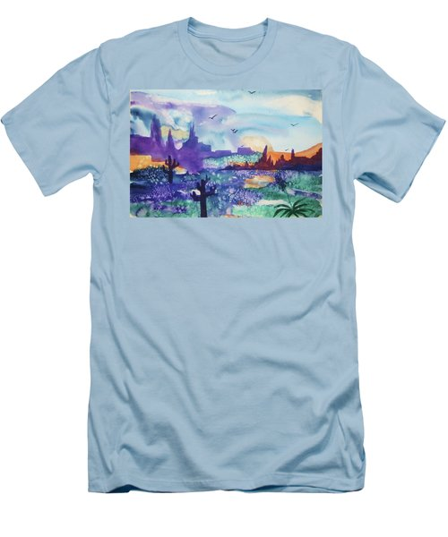 Men's T-Shirt (Slim Fit) featuring the painting Tranquility II by Ellen Levinson