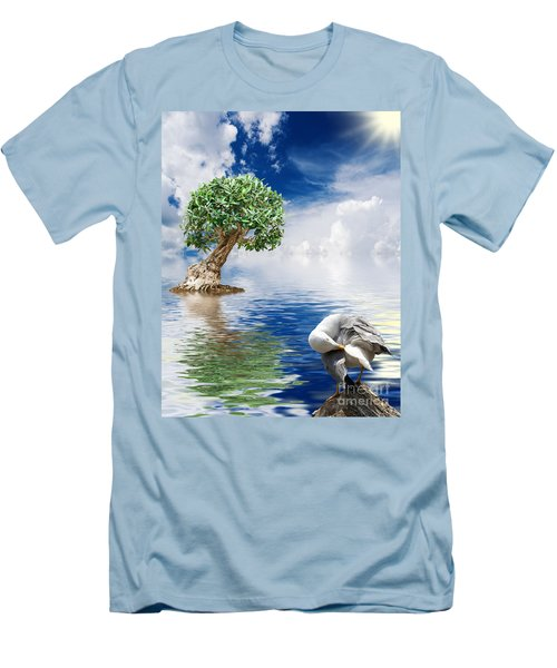 Tree Seagull And Sea Men's T-Shirt (Athletic Fit)