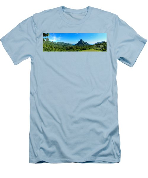 Tropical Moorea Panorama Men's T-Shirt (Slim Fit) by IPics Photography