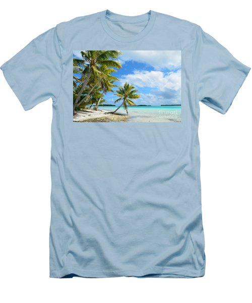 Tropical Beach With Hanging Palm Trees In The Pacific Men's T-Shirt (Slim Fit) by IPics Photography