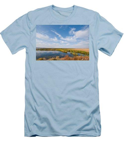 Tule Lake Marshland Men's T-Shirt (Slim Fit) by Jeff Goulden