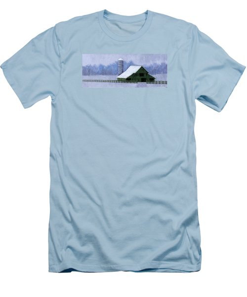 Men's T-Shirt (Slim Fit) featuring the painting Turner Barn In Brentwood by Janet King