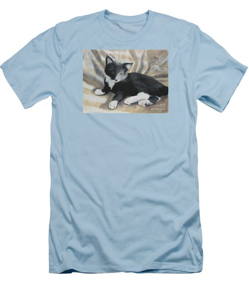 Men's T-Shirt (Slim Fit) featuring the painting Tuxedo Kitten by Jeanne Fischer