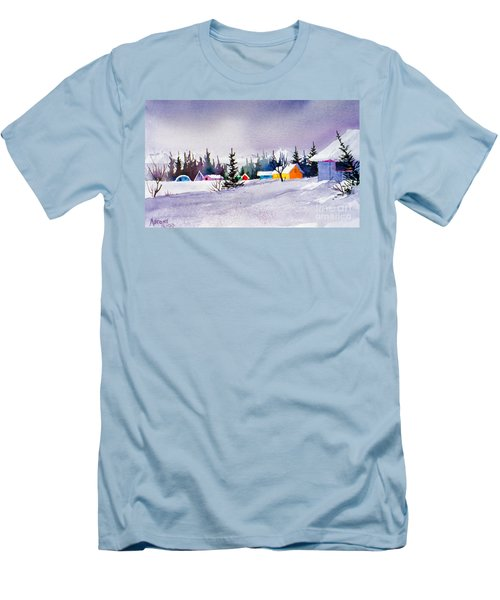 Men's T-Shirt (Slim Fit) featuring the painting Tyonek Village Impression by Teresa Ascone
