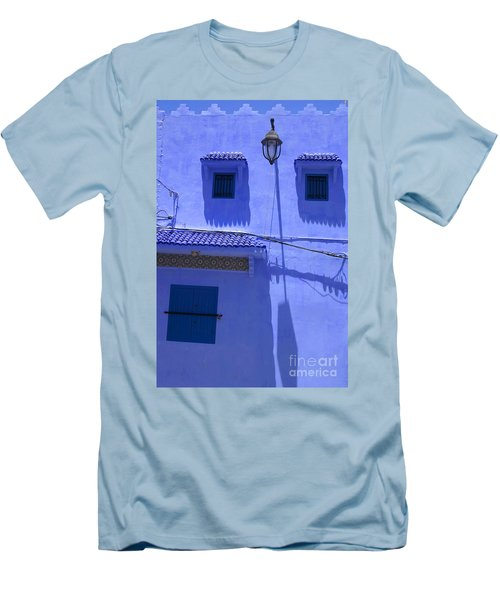 Men's T-Shirt (Slim Fit) featuring the photograph Typical Blue Facade In The Medina Of Asilah On Northwest Tip Of Atlantic Coast Of Morocco by Ralph A  Ledergerber-Photography