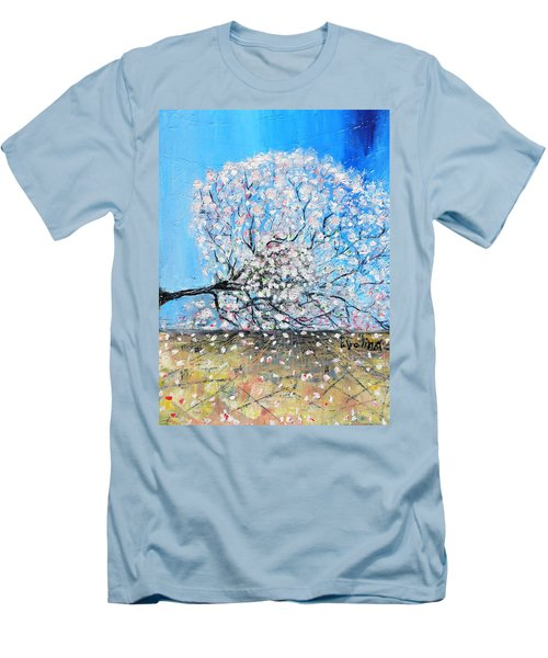 Men's T-Shirt (Slim Fit) featuring the painting Unstable Position by Evelina Popilian