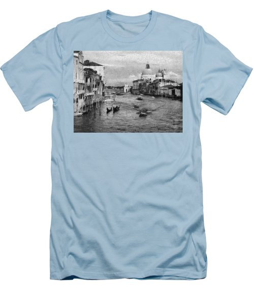 Men's T-Shirt (Slim Fit) featuring the painting Vintage Venice Black And White by Georgi Dimitrov