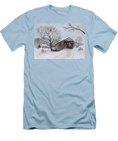 Vermont Covered Bridge In Winter Men's T-Shirt (Slim Fit) by Donna Walsh