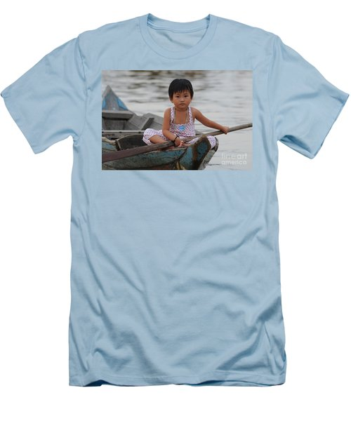 Vietnamese Girl On Lake Tonle Sap Men's T-Shirt (Athletic Fit)