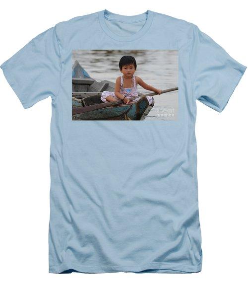 Vietnamese Girl On Lake Tonle Sap Men's T-Shirt (Slim Fit) by Vivian Christopher