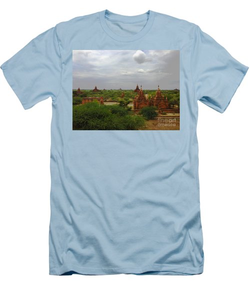 Men's T-Shirt (Slim Fit) featuring the photograph View Of Smaller Temples Next To Dhammayazika Pagoda Built In 1196 By King Narapatisithu Bagan Burma by Ralph A  Ledergerber-Photography