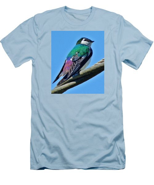 Men's T-Shirt (Slim Fit) featuring the photograph Violet-green Swallow by VLee Watson