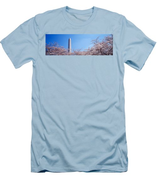 Washington Monument Behind Cherry Men's T-Shirt (Slim Fit) by Panoramic Images