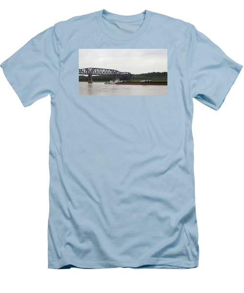 Water Under The Bridge - Towboat On The Mississippi Men's T-Shirt (Slim Fit) by Jane Eleanor Nicholas