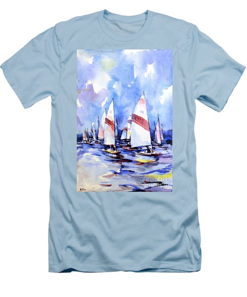 Watercolor Of Scow Boats Racing Torch Lake Mi Men's T-Shirt (Athletic Fit)
