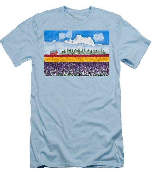 Watercolor Painting Landscape Of Skagit Valley Tulip Fields Art Men's T-Shirt (Athletic Fit)