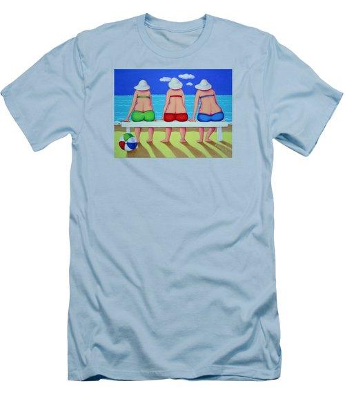 Wave Watch - Beach Men's T-Shirt (Slim Fit) by Rebecca Korpita