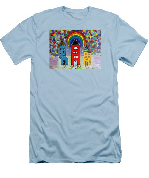 Men's T-Shirt (Slim Fit) featuring the painting We Choose To Serve - Original Whimsical Folk Art Painting by Ella Kaye Dickey