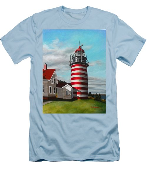 West Quoddy Head Lighthouse Men's T-Shirt (Slim Fit) by Eileen Patten Oliver