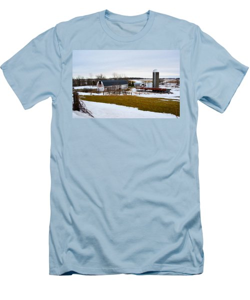Western New York Farm As An Oil Painting Men's T-Shirt (Athletic Fit)