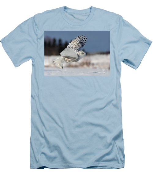 White Angel - Snowy Owl In Flight Men's T-Shirt (Slim Fit) by Mircea Costina Photography