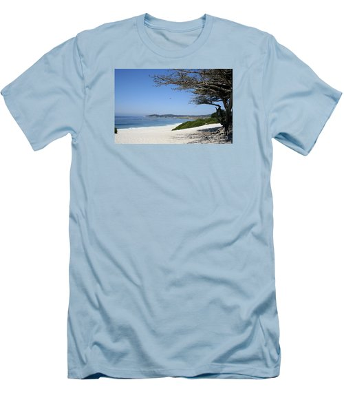 White Beach At Carmel Men's T-Shirt (Slim Fit) by Christiane Schulze Art And Photography