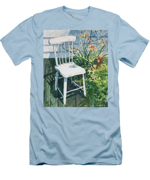 Men's T-Shirt (Slim Fit) featuring the painting White Chair And Day Lilies by Joy Nichols