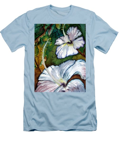 Men's T-Shirt (Slim Fit) featuring the painting White Hibiscus by Lil Taylor