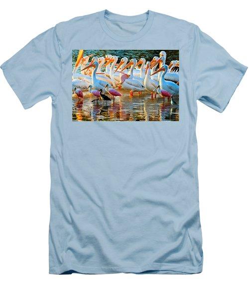 White Pelicans Men's T-Shirt (Athletic Fit)