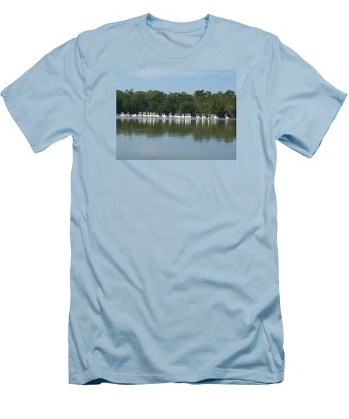 Men's T-Shirt (Slim Fit) featuring the photograph White Pelicans by Robert Nickologianis