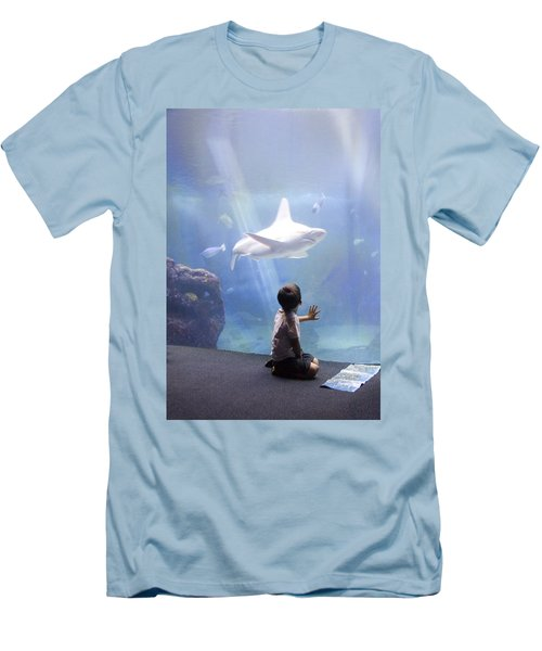 White Shark And Young Boy Men's T-Shirt (Slim Fit) by David Smith