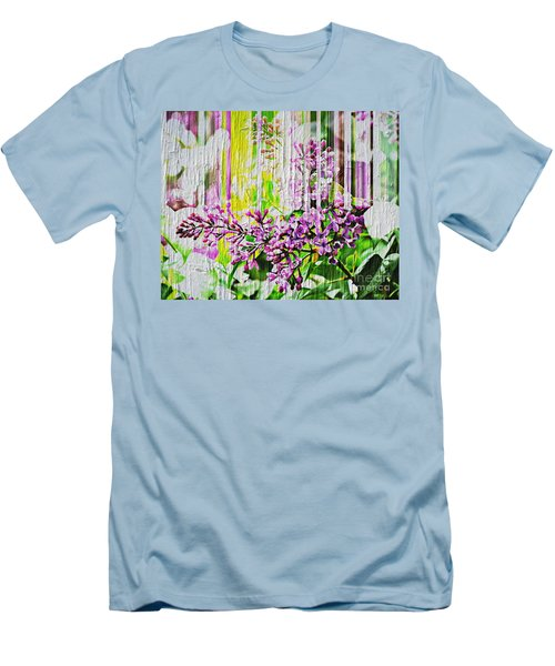 Men's T-Shirt (Slim Fit) featuring the photograph White Washed Painted Lilac by Judy Palkimas