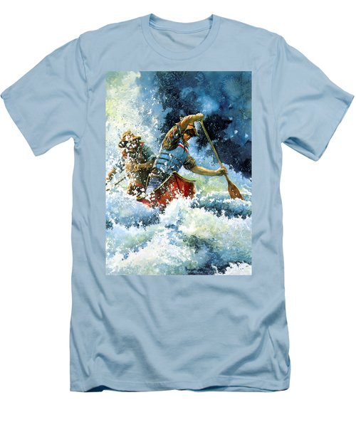 Men's T-Shirt (Athletic Fit) featuring the painting White Water by Hanne Lore Koehler