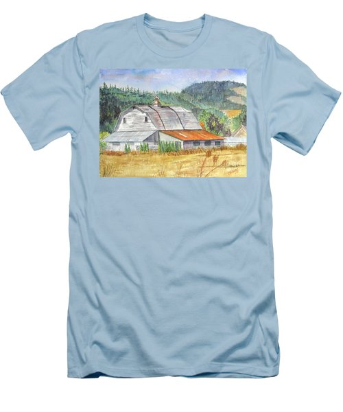 Men's T-Shirt (Slim Fit) featuring the painting Willamette Valley Barn by Carol Flagg