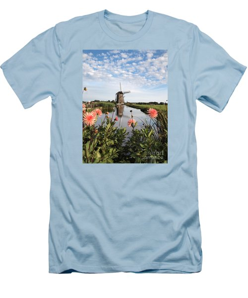 Windmill Landscape In Holland Men's T-Shirt (Slim Fit) by IPics Photography