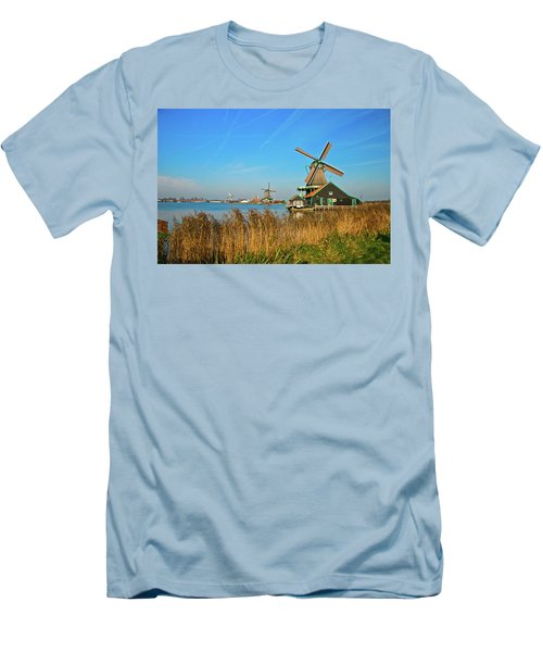 Men's T-Shirt (Slim Fit) featuring the photograph Windmills On De Zaan by Jonah  Anderson