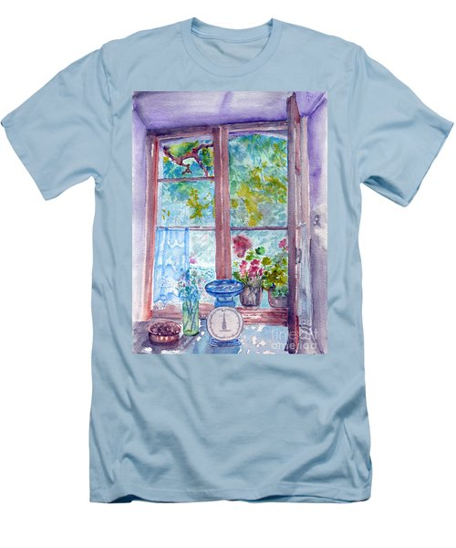 Men's T-Shirt (Slim Fit) featuring the painting Window by Jasna Dragun