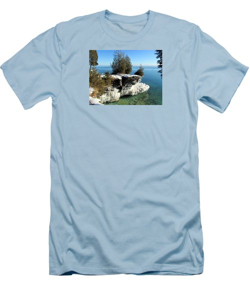 Winter At Cave Point Men's T-Shirt (Slim Fit) by David T  Wilkinson