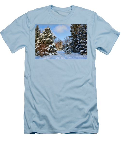 Men's T-Shirt (Slim Fit) featuring the photograph Winter Scenery by Teresa Zieba
