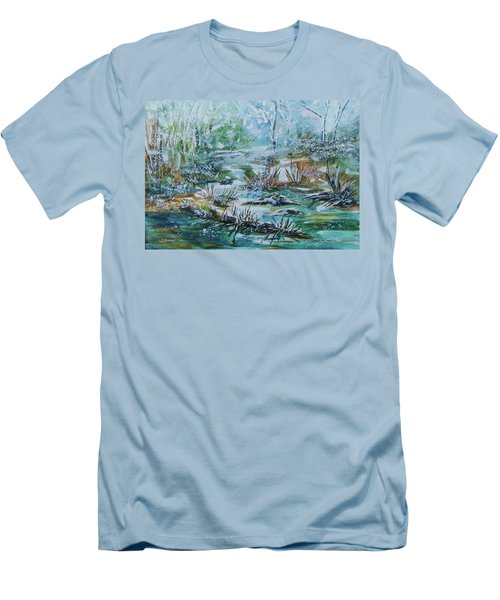 Men's T-Shirt (Slim Fit) featuring the painting Winter Whispers On Catskill Creek by Ellen Levinson