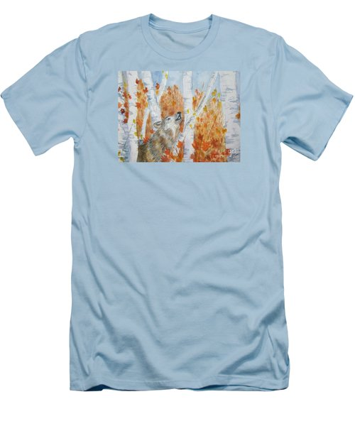 Men's T-Shirt (Slim Fit) featuring the painting Wolf Call by Ellen Levinson