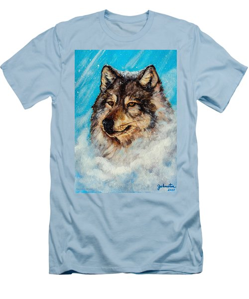 Men's T-Shirt (Slim Fit) featuring the painting Wolf In A Snow Storm by Bob and Nadine Johnston