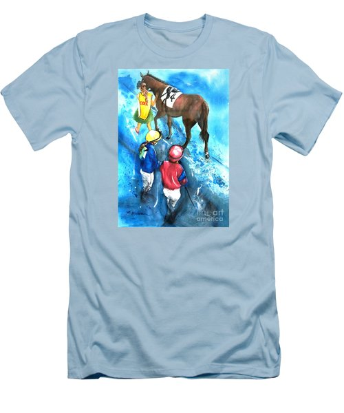 Men's T-Shirt (Slim Fit) featuring the painting Giddy Up Girls by Therese Alcorn