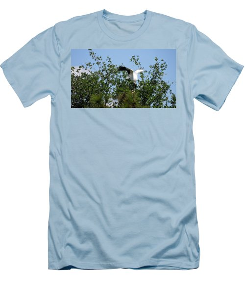 Men's T-Shirt (Slim Fit) featuring the photograph Wood Stork by Ron Davidson