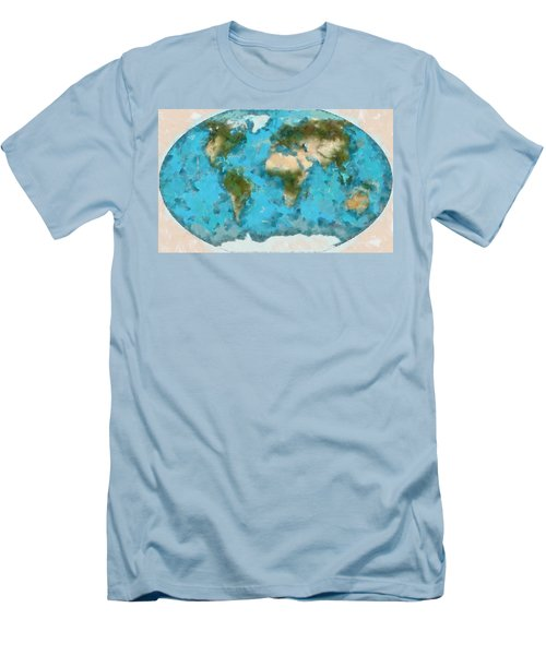 World Map Cartography Men's T-Shirt (Athletic Fit)
