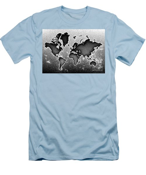 World Map Novo In Black And White Men's T-Shirt (Athletic Fit)