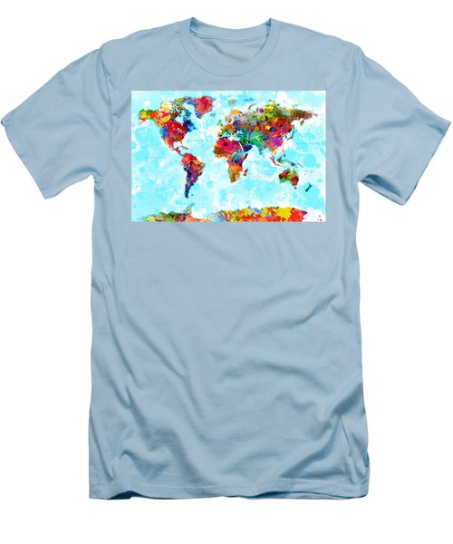 World Map Spattered Paint Men's T-Shirt (Athletic Fit)