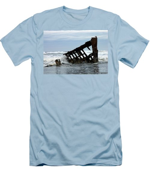 Men's T-Shirt (Slim Fit) featuring the photograph Wreck Of The Peter Iredale by Chalet Roome-Rigdon