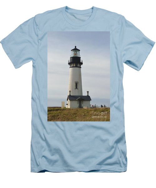 Yaquina Bay Lighthouse Men's T-Shirt (Slim Fit) by Susan Garren